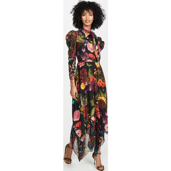 (取寄)アリス アンド オリビア レディース カレン タイ ネック ティアード ハンカチーフ ドレス alice + olivia Women's Karen Tie Neck Tiered Handkerchief Dress MDGardenFloral Leaf