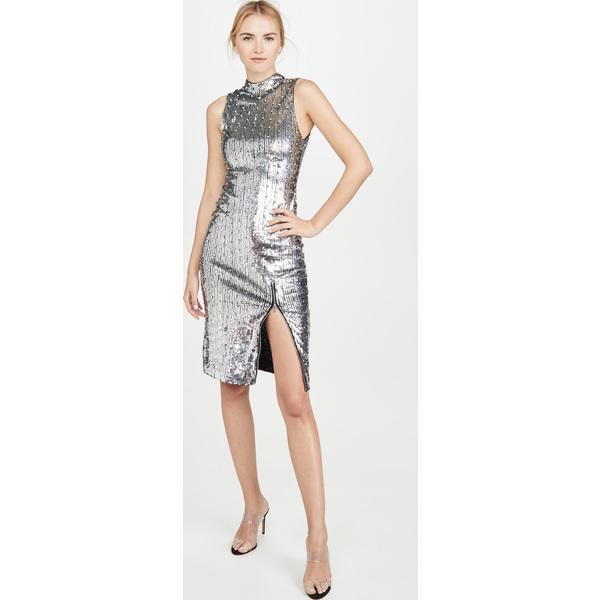 (取寄)アリス アンド オリビア レディース マリカ シークイン エンベリッシュ スリーブレス ドレス alice + olivia Women's Malika Sequin Embellished Sleeveless Dress Silver