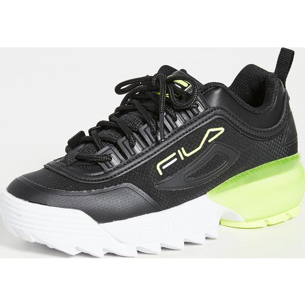 (取寄)フィラ レディース ディスラプター 2A スニーカー Fila Women's Disruptor 2A Sneakers Black White SafetyYellow