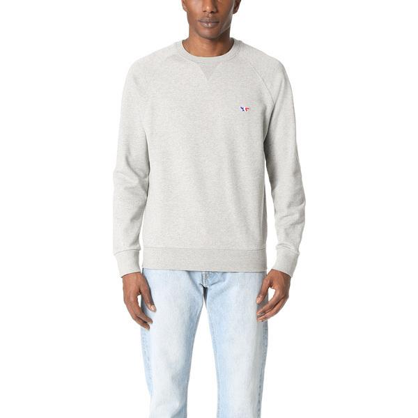 (取寄)メゾンキツネ トリコロール フォックス パッチ スウェットシャツ Maison Kitsune Tricolor Fox Patch Sweatshirt GreyMelange