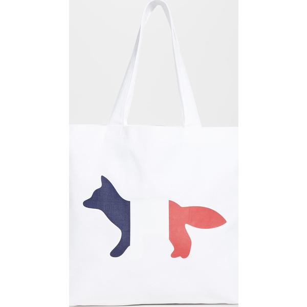 (取寄)メゾンキツネ トリコロール フォックス トート バッグ Maison Kitsune Tri-color Fox Tote Bag White