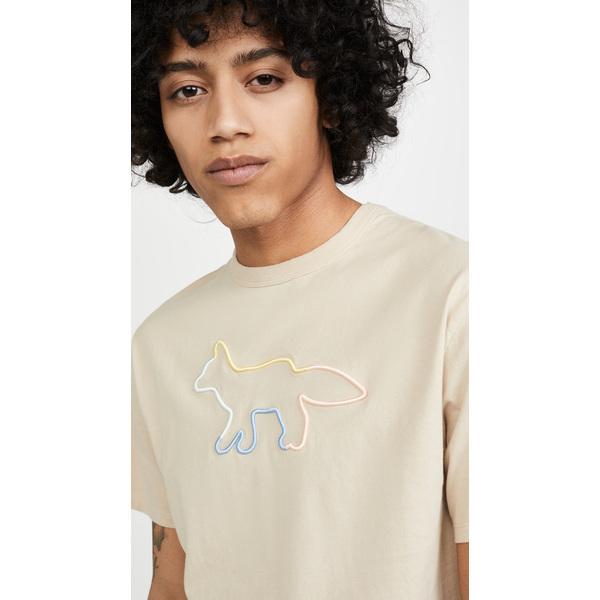 (取寄)メゾンキツネ エンブロイダー レインボー フォックス Tシャツ Maison Kitsune Embroidered Rainbow Fox T-Shirt Beige