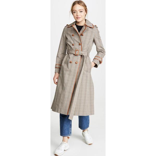 (取寄)トリーバーチ レディース プレイド トレンチ コート Tory Burch Women's Plaid Trench Coat Plaid Beige