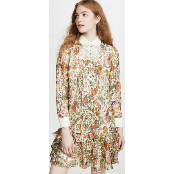 (取寄)トリーバーチ レディース プリンテッド メタリック ドレス Tory Burch Women's Printed Metallic Dress NewIvoryPromisedLand