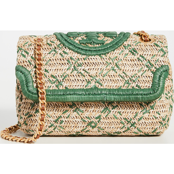 (取寄)トリーバーチ レディース フレミング ソフト ストロー ショルダー バッグ Tory Burch Women's Fleming Soft Straw Shoulder Bag Natural Arugula