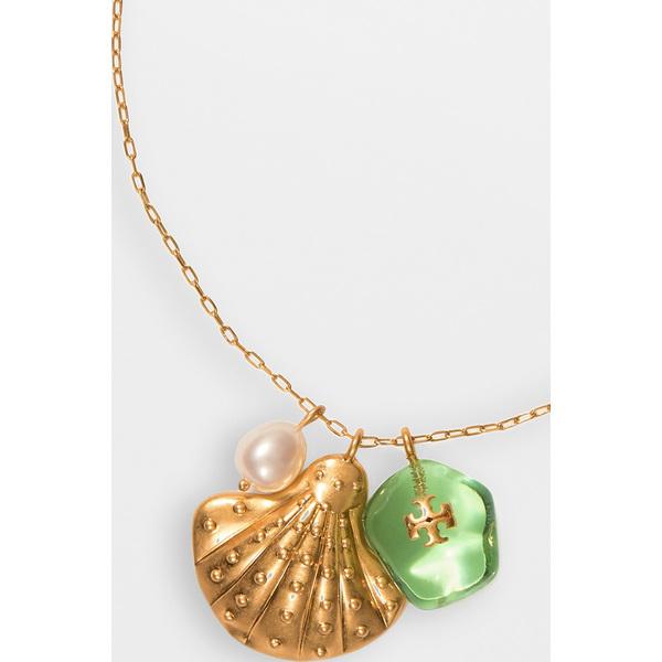 【クーポンで最大2000円OFF】(取寄)トリーバーチ レディース チャーム ペンダント ネックレス Tory Burch Women's Charm Pendant Necklace RolledBrass Mint White