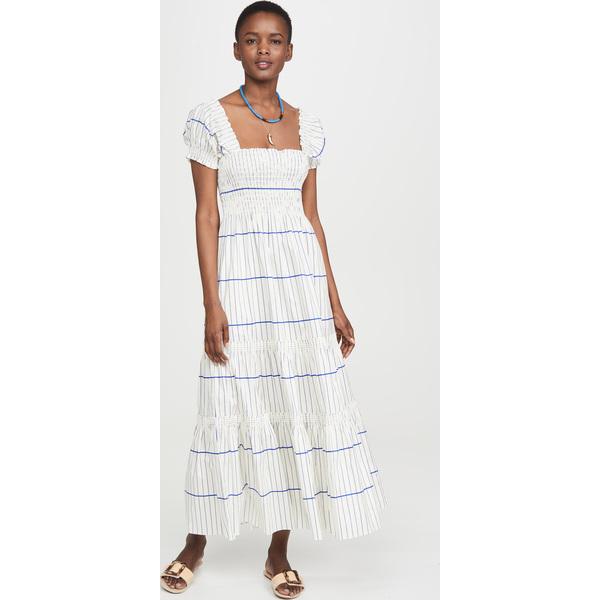 (取寄)トリーバーチ レディース スモック ドレス Tory Burch Women's Smocked Dress Ivory DuchessBlueStripe