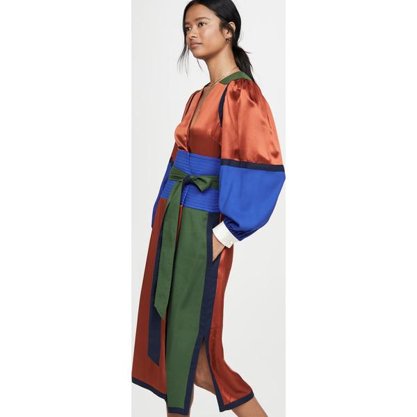(取寄)トリーバーチ レディース カラーブロック シルク ラップ ドレス Tory Burch Women's Colorblock Silk Wrap Dress Kola