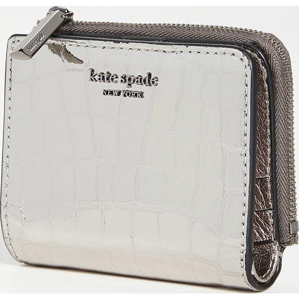 (取寄)ケイトスペード シルビア クロコ エンボス スモール バイフォールド ウォレット Kate Spade New York Sylvia Croc Embossed Small Bifold Wallet Gunmetal