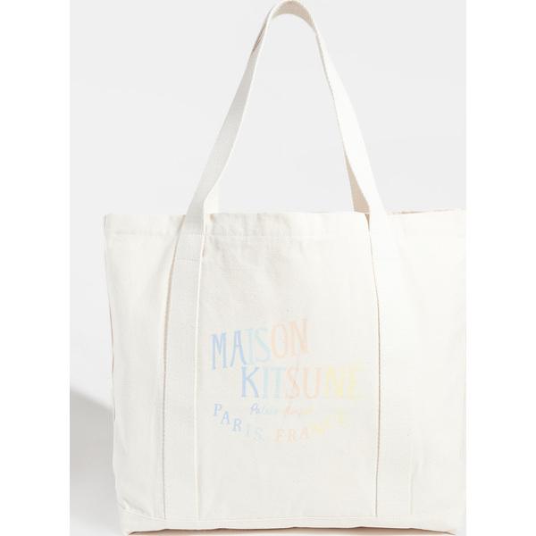 (取寄)メゾンキツネ ショッピング バッグ レインボー パレス ロイヤル Maison Kitsune Shopping Bag Rainbow Palais Royal Ecru