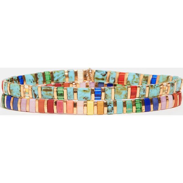 【クーポンで最大2000円OFF】(取寄)シャシ セット オブ 2 ブレスレット Shashi Set of 2 Bracelets JewelTone