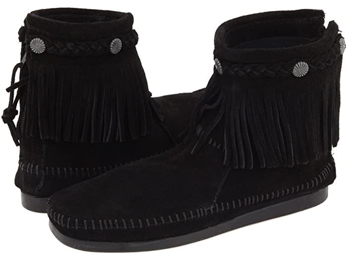 Minnetonka ミネトンカ ブーツ レディース 靴 シューズ ブランド ファッション かわいい 女性サイズ 大きいサイズ 正規品 (取寄)ミネトンカ レディース ハイトップ バック ジップ ブーツ Minnetonka Women's Hi-Top Back Zip Boot Black Suede