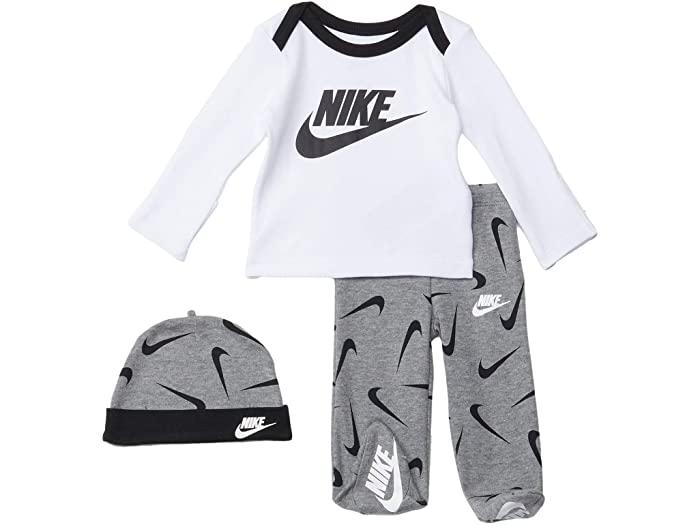 NIKE ナイキ キッズ 上下セット トップス パンツ ベビー 幼児 ブランド ウェア スポーツ カジュアル 大きいサイズ ビックサイズ 取寄 ボーイズ ロング スリーブ Tシャツ フーテッド セット インファント Three-Piece 返品不可 Footed Heather アンド Set Hat Long 公式ショップ and Sleeve ハット スリーピース Pants Infant Carbon T-Shirt Nike Kids Boy's
