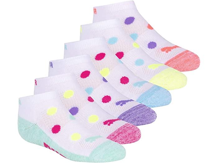 PUMA プーマ 世界の人気ブランド キッズ 靴下 ソックス レッグウェア 激安特価品 ジュニア ブランド スポーツ ファッション 大きいサイズ ビックサイズ 取寄 ガールズ カット Low Puma Cut パック Pack 6 Socks Combo ロウ Bright Girls'