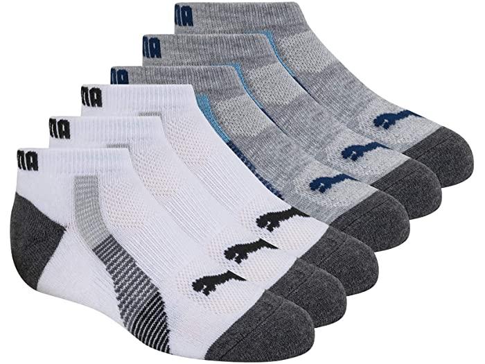 PUMA プーマ キッズ 靴下 ソックス レッグウェア ジュニア ブランド スポーツ 新作 ファッション 大きいサイズ ビックサイズ 取寄 White カット ロウ Low Cut 6 パック ボーイズ 高級 Socks Multi Pack Boy's