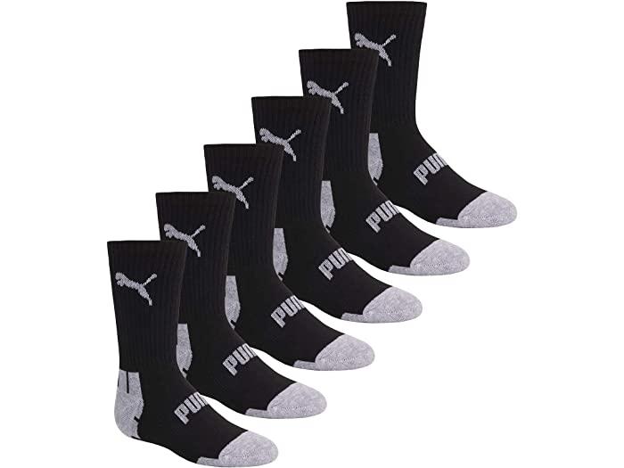 PUMA プーマ キッズ 靴下 ソックス レッグウェア 激安通販専門店 ジュニア ブランド スポーツ ファッション 大きいサイズ ビックサイズ 取寄 カット Boy's Cut Crew ボーイズ Socks 6 Pack レビューを書けば送料当店負担 Black クルー Grey パック