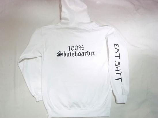 100%SKATEBOARDER JAY ADAMS JONNY BEE ジョニービー別注 EATSHITスリーブ プルオーバーフードスウェット パーカー 白 ホワイト
