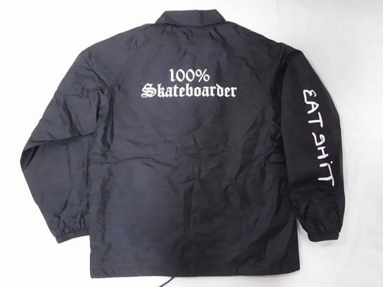 100%SKATEBOARDER JONNY BEE ジョニービー別注 EATSHITスリーブ コーチジャケット 黒 ブラック
