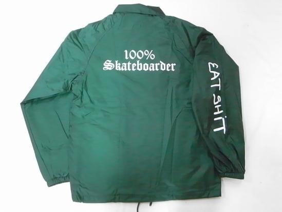 100%SKATEBOARDER JONNY BEE ジョニービー別注 EATSHITスリーブ コーチジャケット 緑 フォレストグリーン