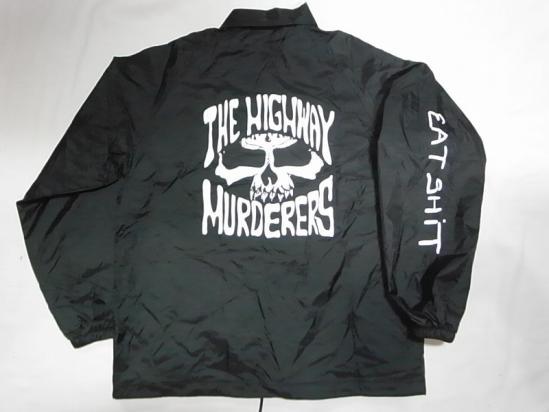 THE HIGHWAY MURDERERS ハイウェイマーダース JONNY BEE ジョニービー別注 EATSHITスリーブ コーチジャケット 黒 ブラック