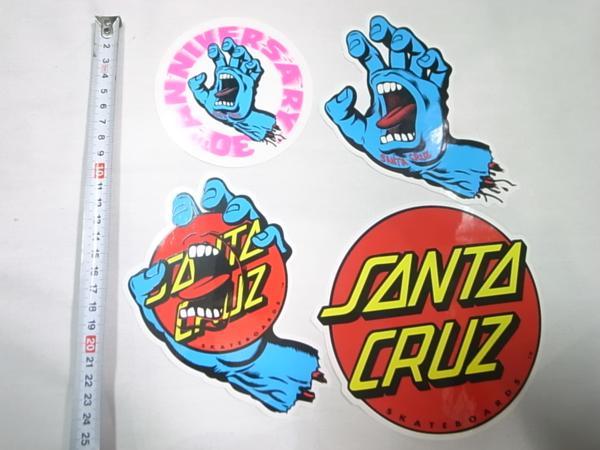 SANTACRUZ サンタクルーズ ステッカー アソート 4枚 セット スクリーミングハンド 30THハンド ドットハンド ドットロゴ