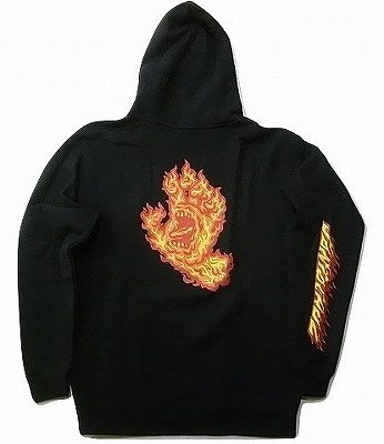 SANTACRUZ サンタクルーズ FLAME HAND フレイムスクリーミングハンド プルオーバーフードスウェット パーカー 黒 ブラック