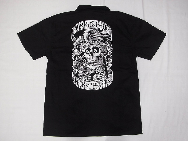 POCKETPISTOLS ポケットピストルズ x V.C JOHNSON ジョンソン JOKERS POOL ワークシャツ 黒x白