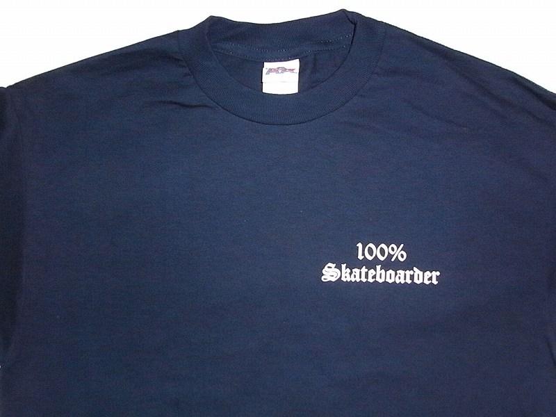 100%SKATEBOARDER logo T-shirt dark blue navy JAY ADAMS Jay Adams