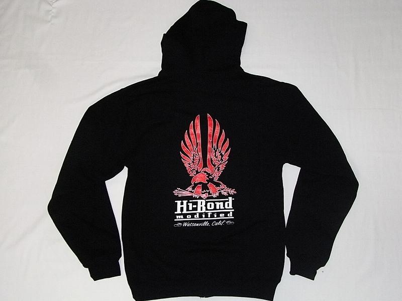 HI-BOND MODIFIED ハイボンドモディファイド イーグル ジップフード パーカー 黒x赤