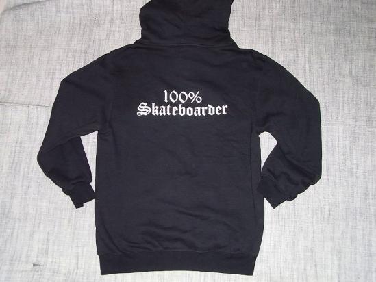 100%SKATEBOARDER ロゴ ジップフード パーカー 黒ブラック JAY ADAMS ジェイアダムス