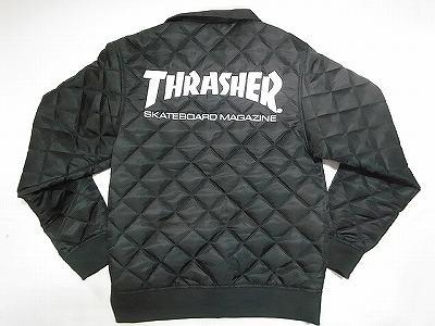 THRASHER スラッシャー 刺繍ロゴ MA-1タイプ キルティング ジャケット B ブラック 黒x白