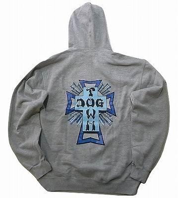 DOGTOWN ドッグタウン COLOR CROSS LOGO カラークロスロゴ ZIP ジッパーフードスウェット パーカー 灰 ヘザーグレーxブルー