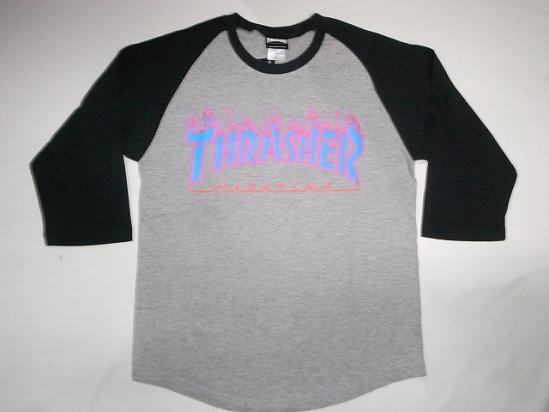 THRASHER スラッシャー 3C FLAME フレイム ファイヤーロゴ ラグラン七分袖Tシャツ 灰x黒x青 グレーxブラックxブルー