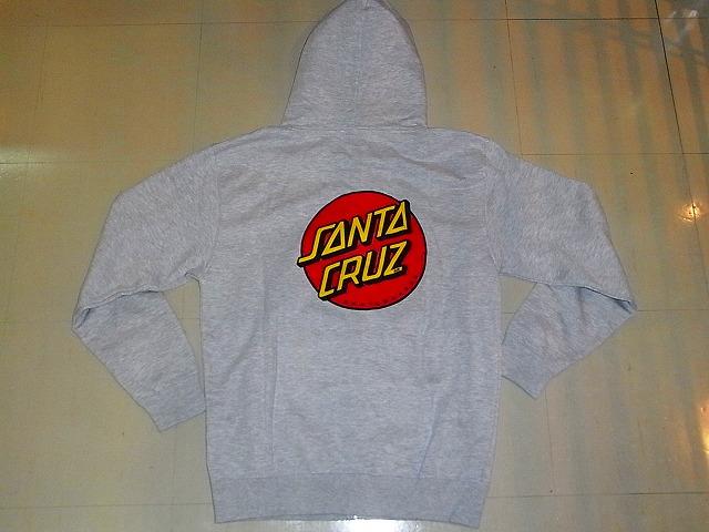 SANTACRUZ サンタクルーズ ドットロゴ ジップフーディー パーカー 灰グレー