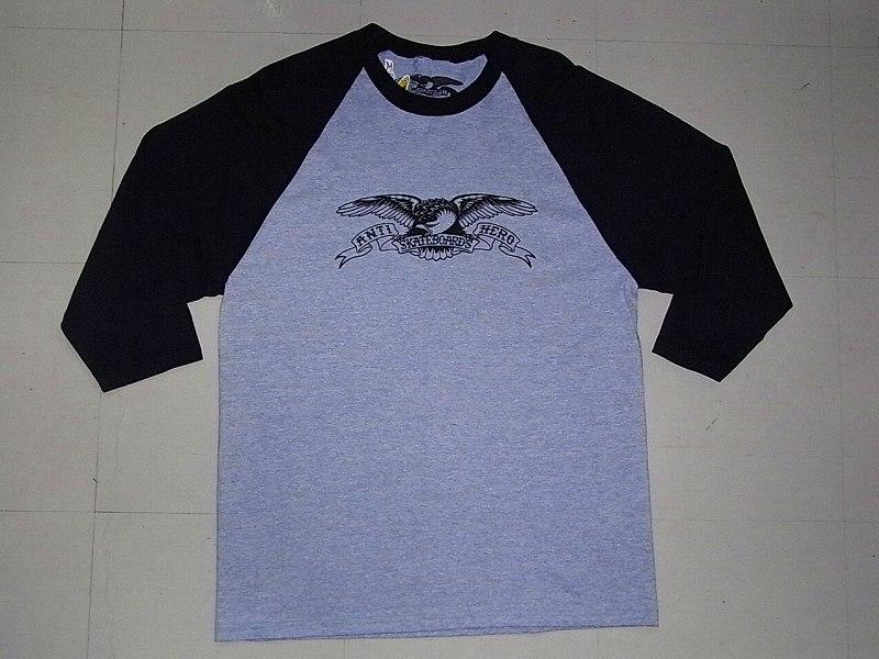 ANTIHERO アンタイヒーロー イーグル ラグラン七分袖Tシャツ 黒x灰