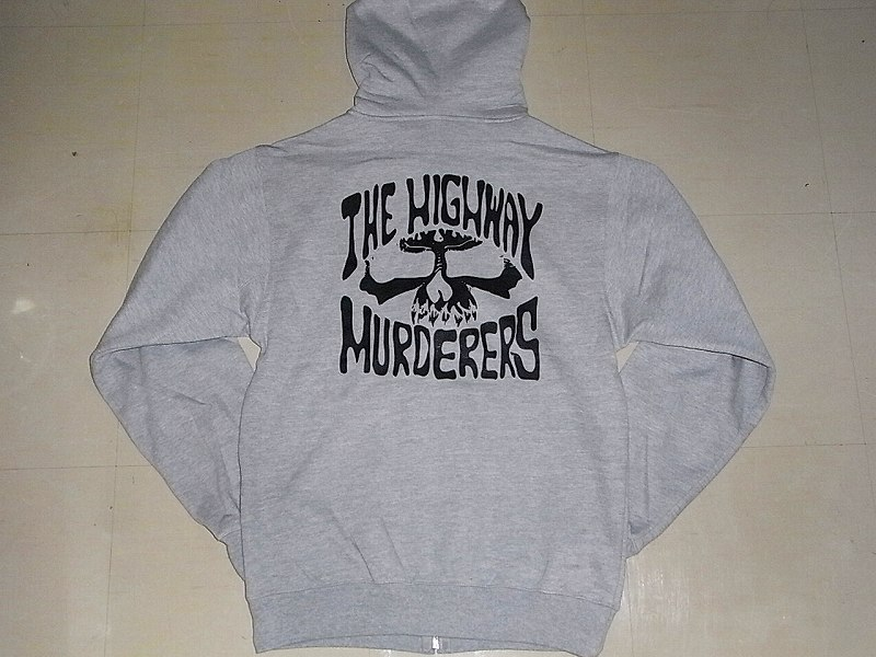 THE HIGHWAY MURDERERS ハイウェイマーダース ジップフード パーカー 灰x黒