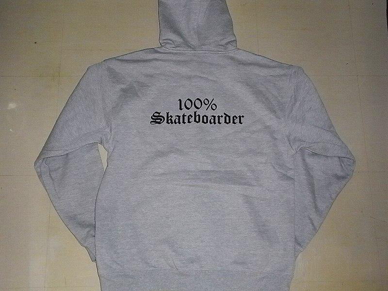 100%SKATEBOARDER ロゴ ジップフード パーカー 灰x黒