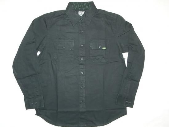 CREATURE クリーチャー CORONER BUTTON UP コットンシャツ 黒 ブラック