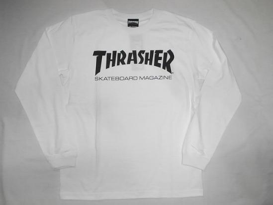 0d5b0f18e THRASHER Thrasher MAG logo long sleeve T shirt Ron T white white x black ...