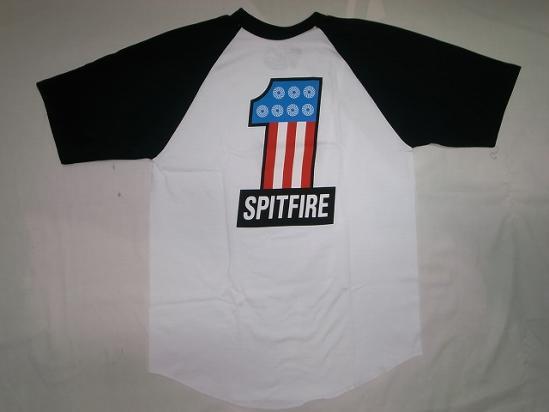 SPITFIRE スピットファイア #1 トリコロール ショートスリーブ ラグラン袖Tシャツ 黒x白