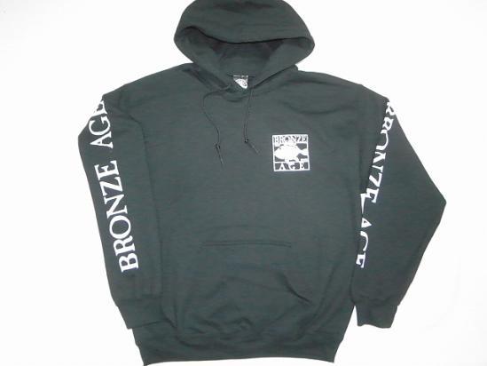 BRONZE AGE ブロンズエイジ SQUARE スクエアフィッシュ ロゴ プルオーバーフード パーカー 黒 ブラック