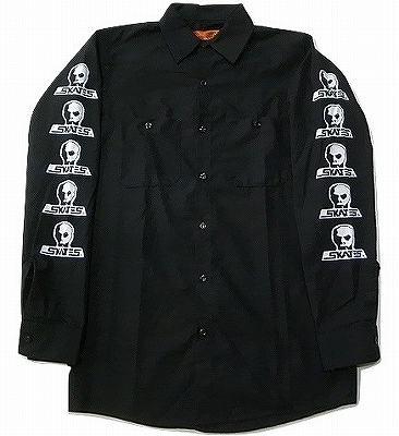SKULLSKATES スカルスケーツ  サーフロゴ ワークシャツ 黒 ブラック