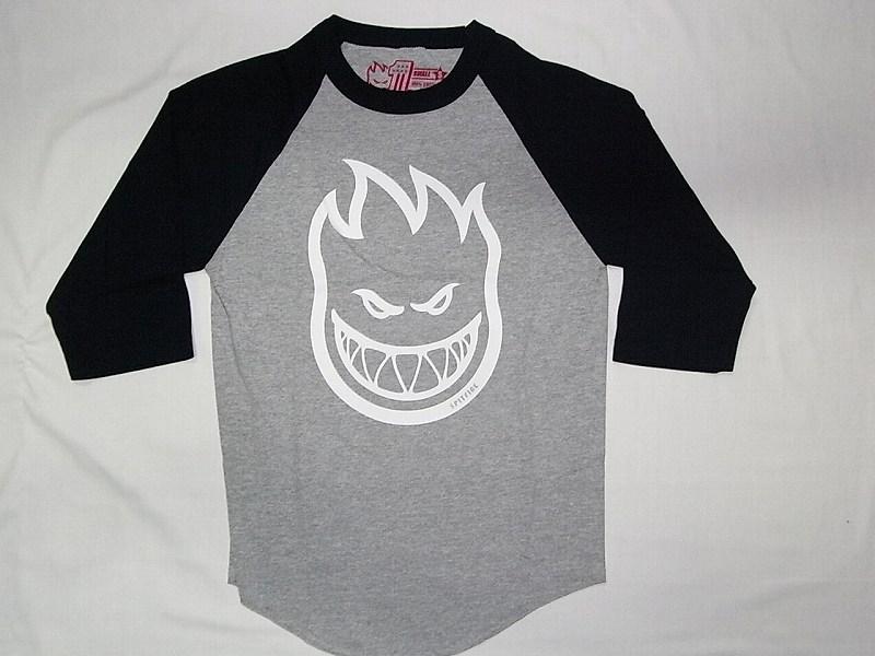 SPITFIRE スピットファイア ビッグヘッド ロゴ ラグラン七分袖Tシャツ 紺x灰x白