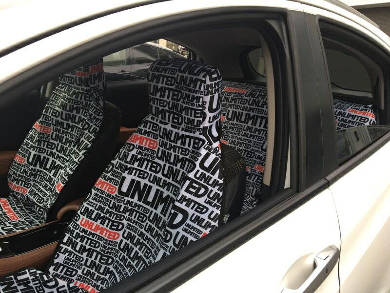 【新作】カーシートカバー ロゴ ウエット素材 防水シートカバー 自動車 運転席 後部座席  リアシート アンリミテッド 防汚 水濡れ防止 UNLIMITED
