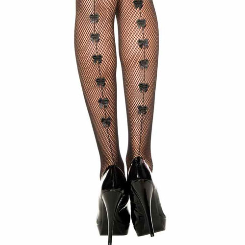 8816a3448a2 ... □The backseam design fishnet pantyhose   color where small ribbon is  cute  Black ...
