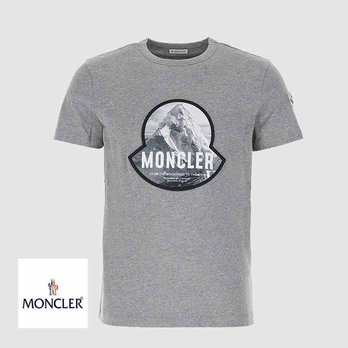 送料無料 モンクレール MONCLER 新作 グレー マウンテンロゴ 超安い コットンTシャツ 送料無料でお届けします
