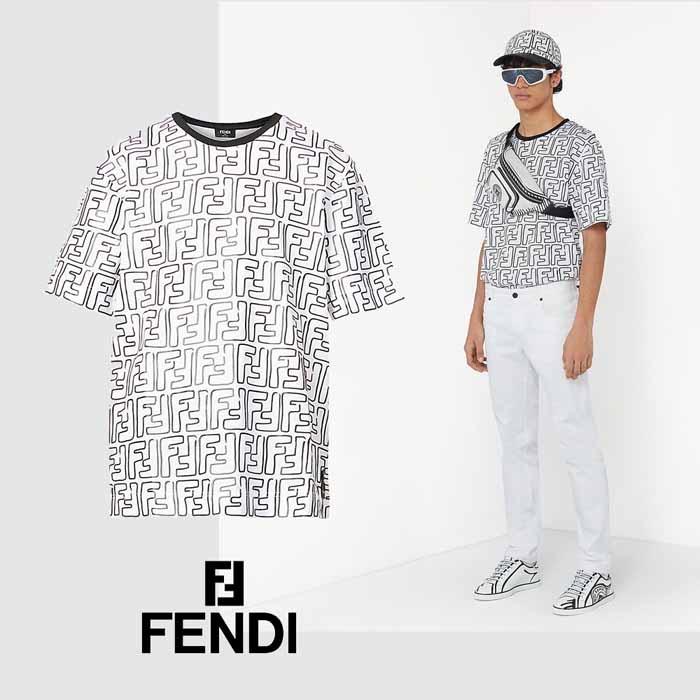フェンディ FENDI FFロゴ Tシャツ FY0936ACNMF0QA0 ホワイト