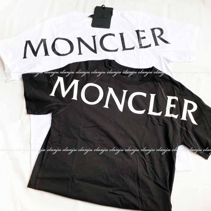 送料無料 年間定番 モンクレール SALE Moncler ビッグロゴ 半袖Tシャツ ブラック ホワイト ショルダー