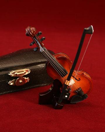 こんなに小さくても本物と同じ細工に感動! 人気No.1☆ ミニチュア楽器 バイオリン(9cm)