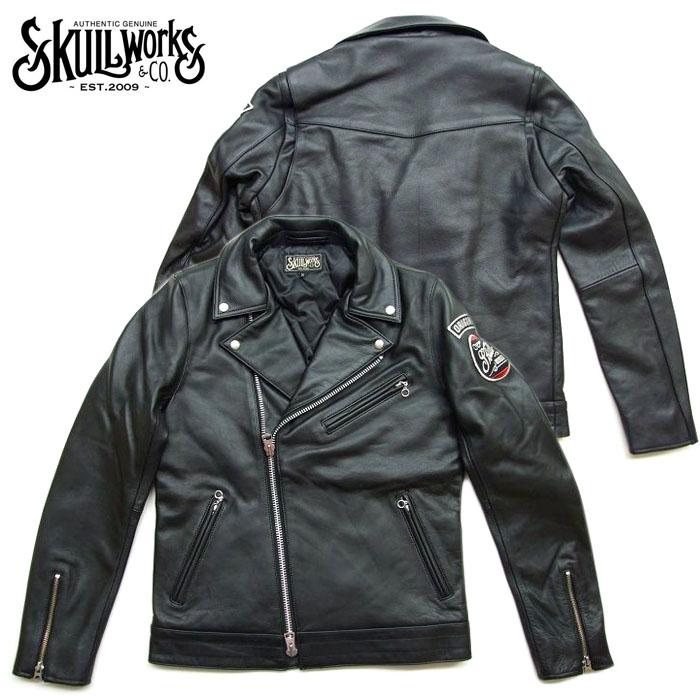 SKULL WORKS【スカルワークス】 ワッペン ダブルライダースジャケット 革JK  131706